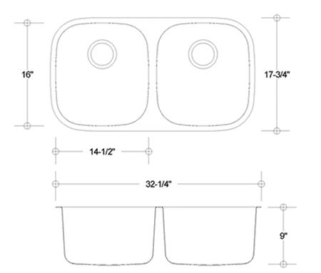 ES-50/50 stainless sink measurement