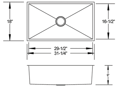 LB-1300 - stainless steel sink measurement