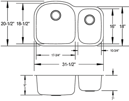 LB-300 stainless sink measurement