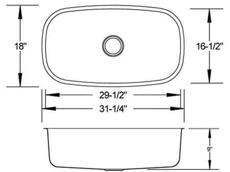 LB-400 stainless sink measurement