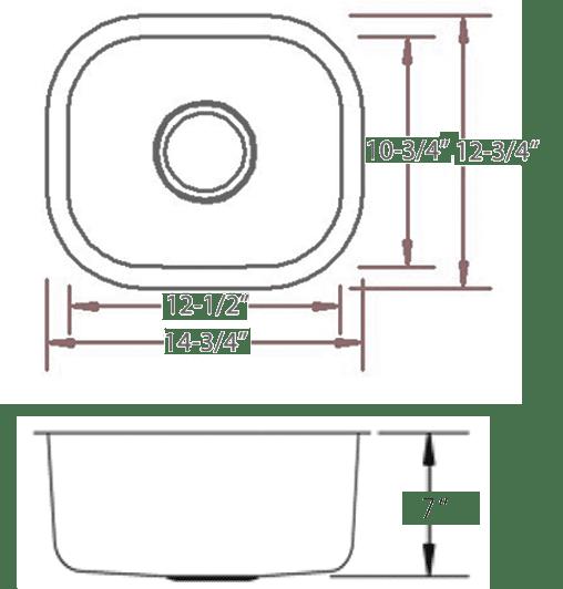 LB-900 - stainless steel sink measurement