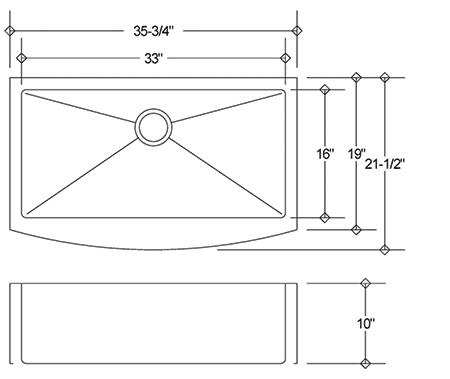 LI-1100 stainless sink measurement