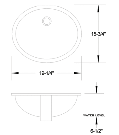 VC-1916 vitreous china sink measurement