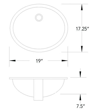 VC-1919 vitreous china measurement