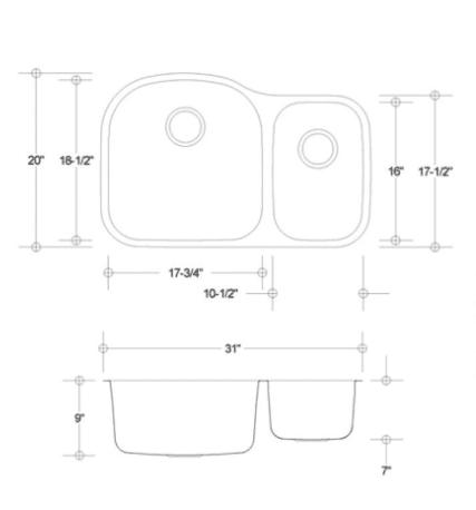 ES 70/30 stainless sink measurement