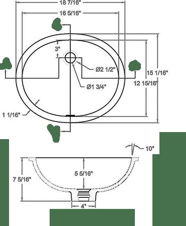 GEM-1613VO Solid surface sink measurement