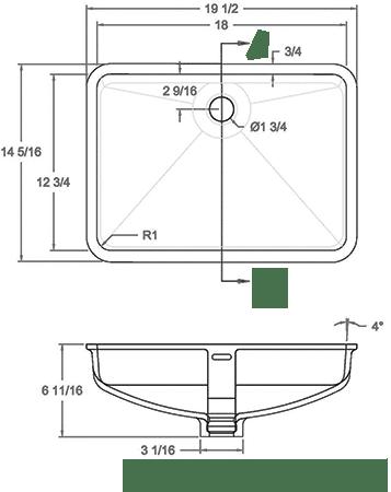 GEM-1812VO solid surface sink measurement