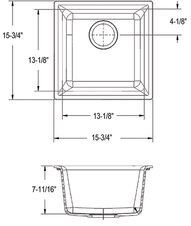 s1616sbp quartz sink measurement